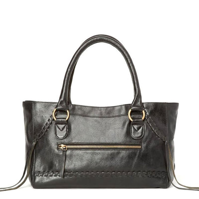 Pema All Leather Handbag with Strap - Black