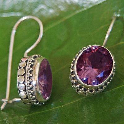 Permata Amethyst and Sterling Silver Earrings from Bali Indonesia