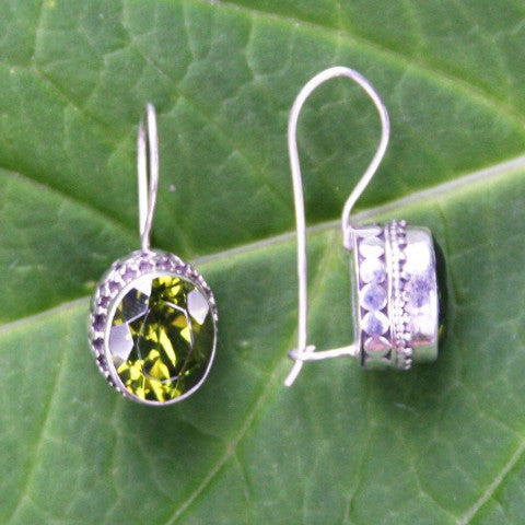 Permata Peridot and Sterling Silver Earrings from Bali Indonesia