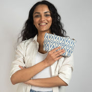 Small Waterproof Pouch - Blue Ikat lifestyle