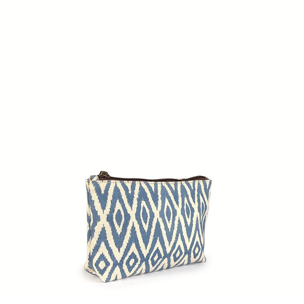 Small Waterproof Pouch - Blue Ikat side view