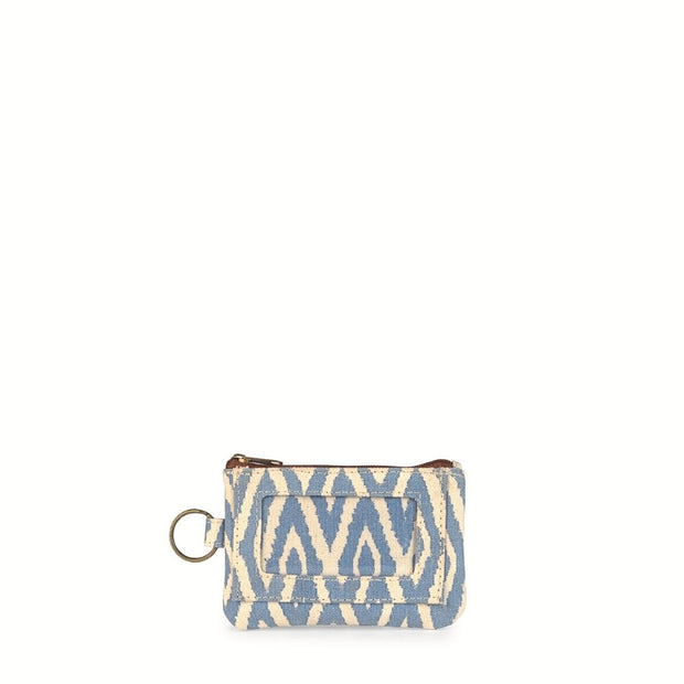 Printed Cotton ID Pouch - Blue Ikat