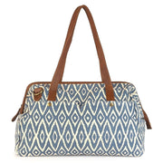 Three-in-One Weekender Bag - Blue Ikat front