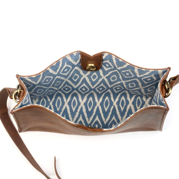 Three-in-One Weekender Bag - Blue Ikat leather pouch insert interior