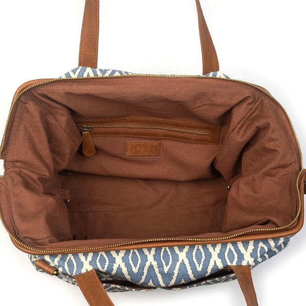 Three-in-One Weekender Bag - Blue Ikat interior without learther pouch insert