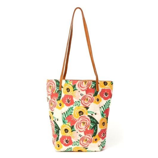 Prisha Block Printed Cotton Leather Handles Bucket Tote - Floral Print