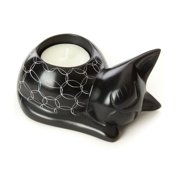 Cozy Black Cat Soapstone Tea Light Candle Holder