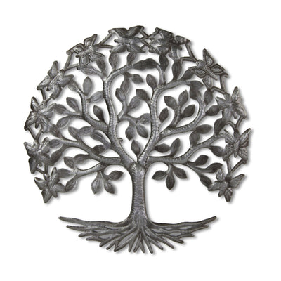 15-inch Tree of LIfe with Butterflies Recycled Metal Wall Art