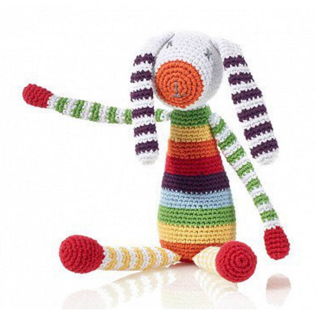Pebble Bunny Rattle Toy - Rainbow Multi Color
