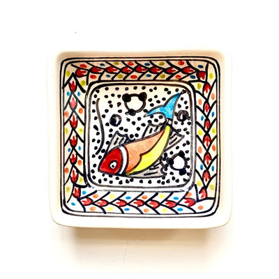 Rainbow Fish Hand-painted Small Square Ceramic Bowl
