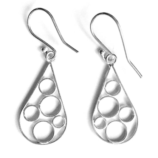 Handmade and Fair Trade Sterling Silver Raindrop Circles Earrings