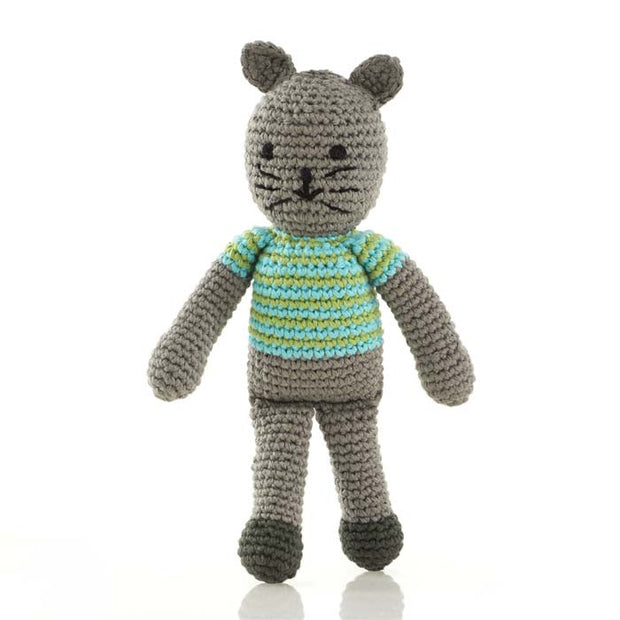 Pebble Boy Cat Rattle Toy