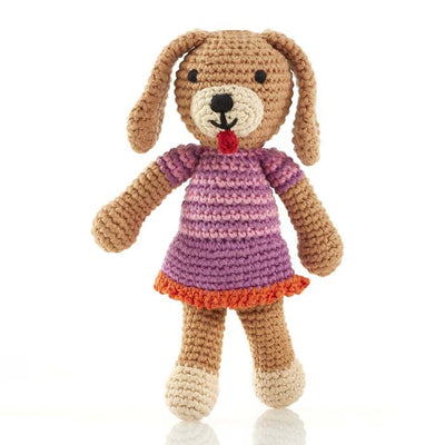 Pebble Girl Dog Rattle Toy