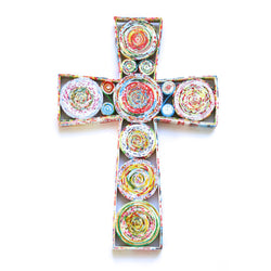 Handmade and Fair Trade 10-inch Recycled Paper Wall Cross