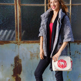 Recycled Cement Sack Small Messenger Bag - Diamond Elephant lifestyle