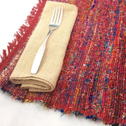 Recycled Silk Sari Placemat - Red lifestyle