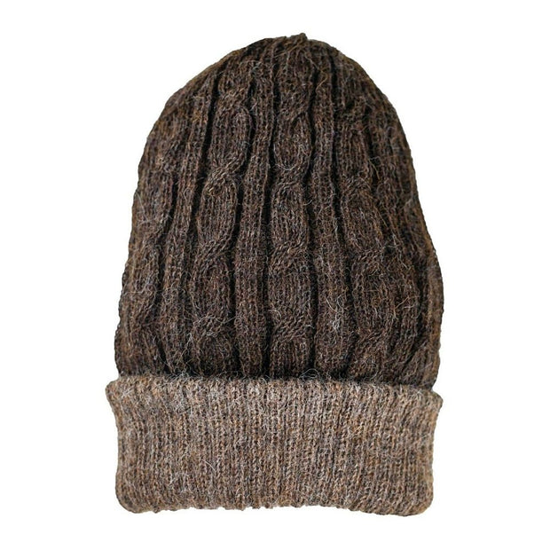 Reversible Hand-knit Cable Hat - Brown