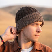 Reversible Hand-knit Cable Hat - Brown lifestyle