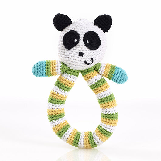 Pebble Hand-knit Ring Panda Rattle
