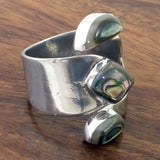Adjustable Wide Wrap Silver and Abalone Ring