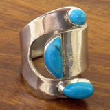 Adjustable Wide Wrap Silver and Turquoise Ring