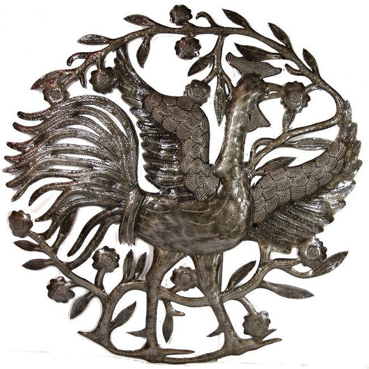 24-inch Rooster Recycled Steel Drum Wall Art from Haiti