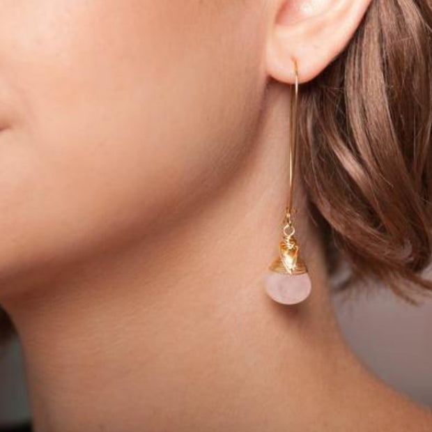 Handmade Tangled Teardrop Earrings with Rose Quartz - lifestyle
