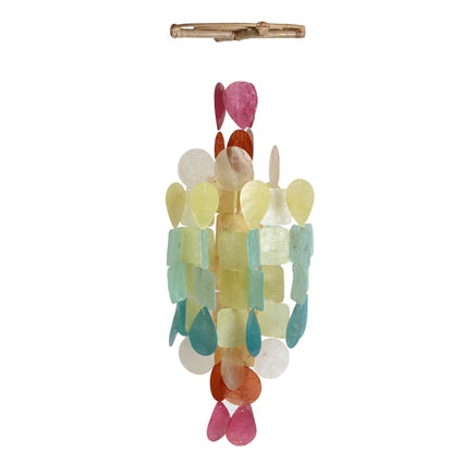 Medium Round Capiz Wind Chime – Fiesta Multicolor