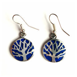Round alpaca silver and blue resin tree of life earrings