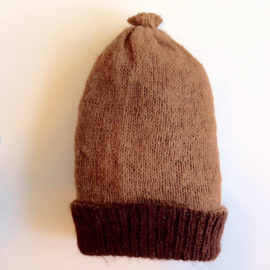 Rustic Reversible Alpaca Fleece Beanie