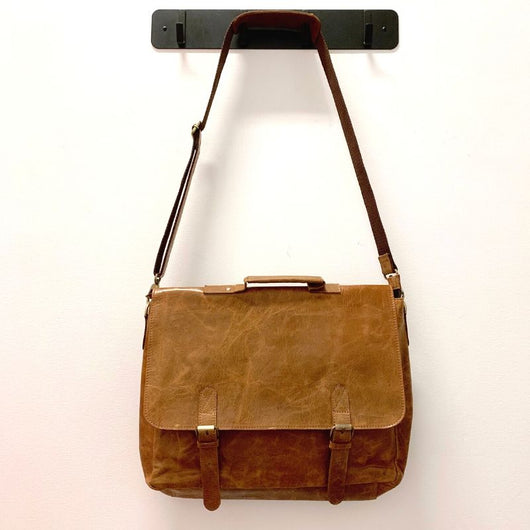 15-inch Leather Laptop Briefcase Messenger Bag