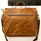 15-inch Leather Laptop Briefcase Messenger Bag backview
