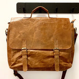 15-inch Leather Laptop Briefcase Messenger Bag frontview