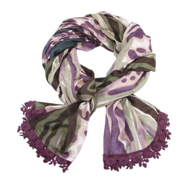 Watercolor Scarf with Plum Crochet Trim