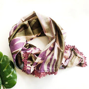 Watercolor Scarf with Plum Crochet Trim  flat