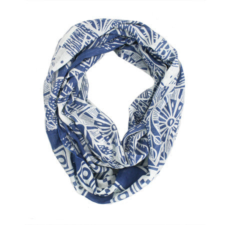 Bird Screen Printed Infinity Cotton Scarf