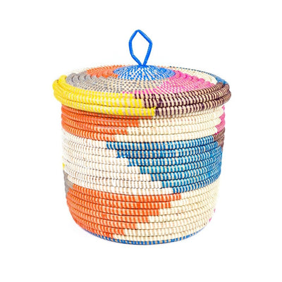 Multi Color Lidded Storage Basket