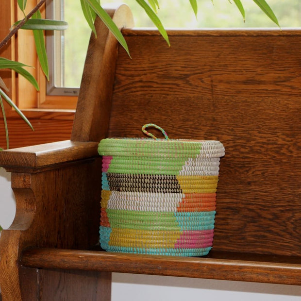 Multi Color Lidded Storage Basket lifestyle