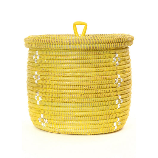 Blossom Lidded Storage Basket - Yellow