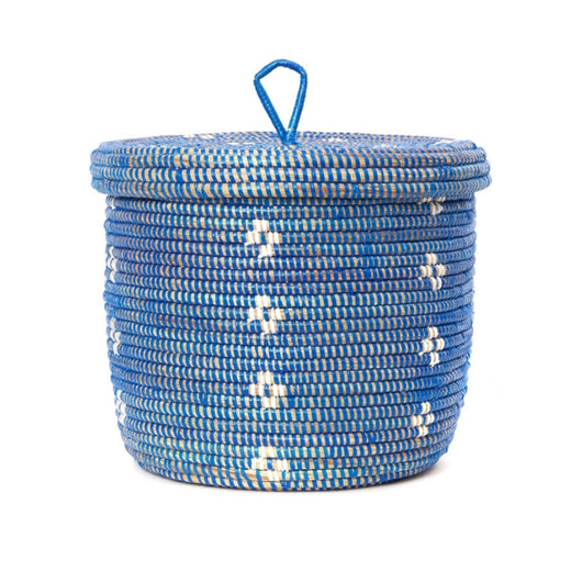 Blossom Lidded Storage Basket - Blue