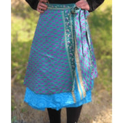 Two-tier reversible recycled silk wrap skirt. One size fits all