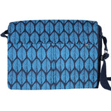 Screen Print Cotton Messenger Bag - Aqua Leaf frontview