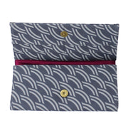Screen Print Long Wallet - Grey Crescent interior
