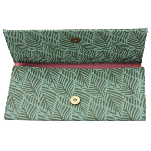 Screen Print Long Wallet - Turquoise Leaf open