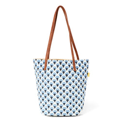 Kavya Block Printed Cotton Bucket Tote - Denim Peacock