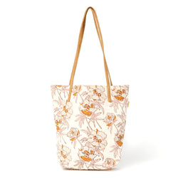 Kavya Block Printed Cotton Bucket Tote - Bright Peony