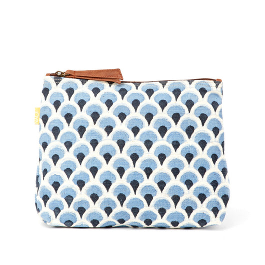 Shweta Printed Cotton Vegan Large Pouch - Denim Peacock