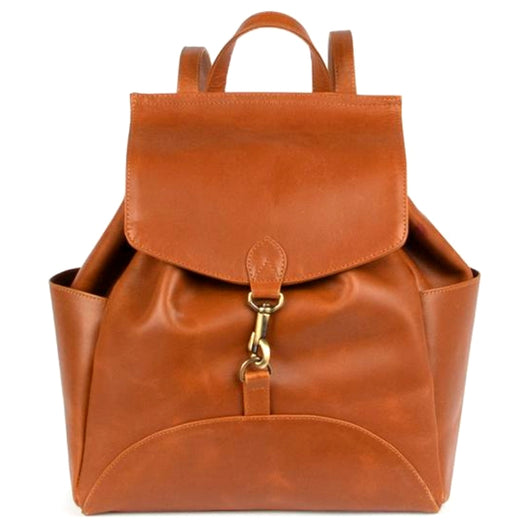 Himani All Leather Backpack - Camel front view
