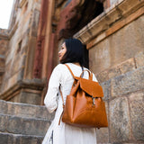 Himani All Leather Backpack - Camel lifestyle