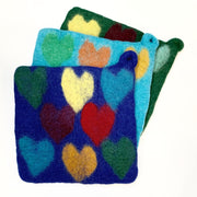 Handmade and Fair Trade Colorful Felt Wool Potholder - Hearts
